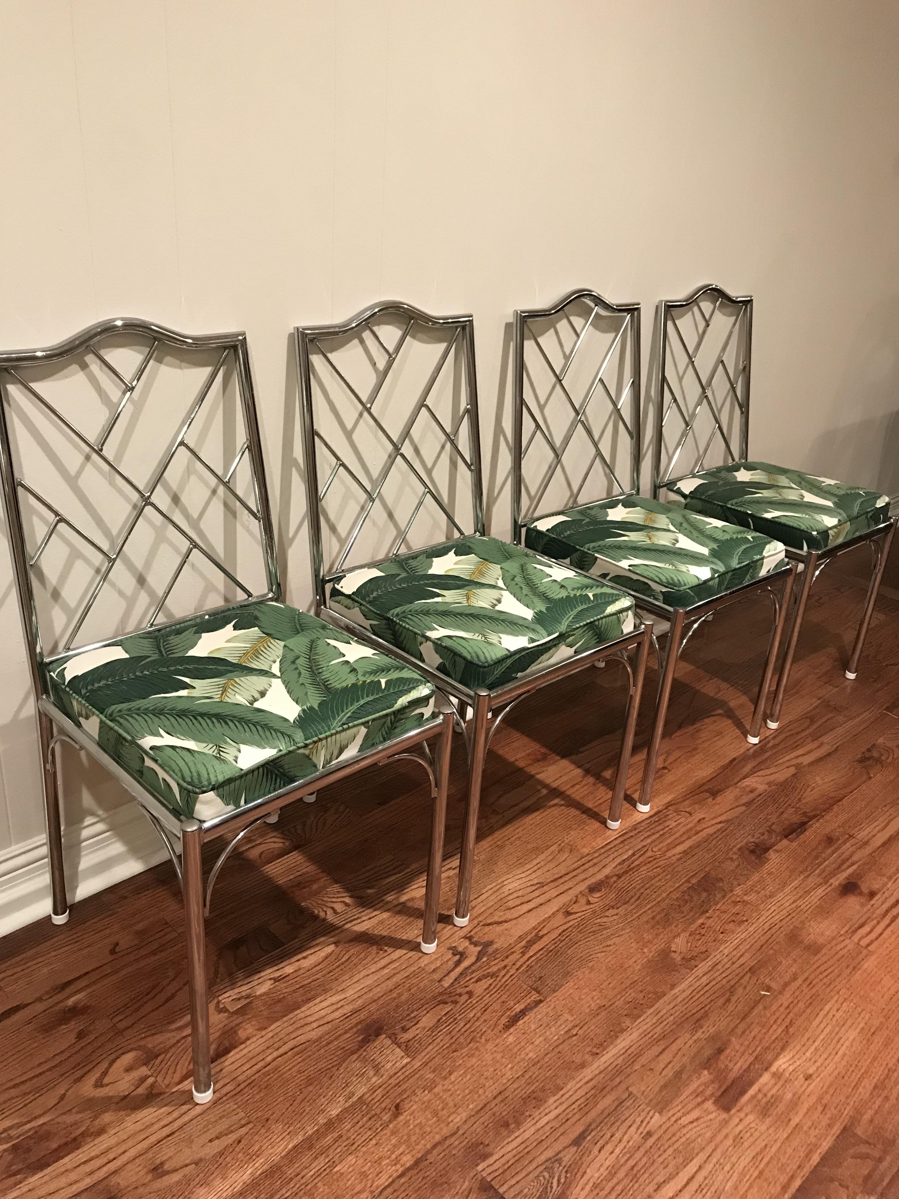 Boho Chic Palm Leaf Fabric U0026 Chrome Dining Room Chairs   Set Of 4 For Sale