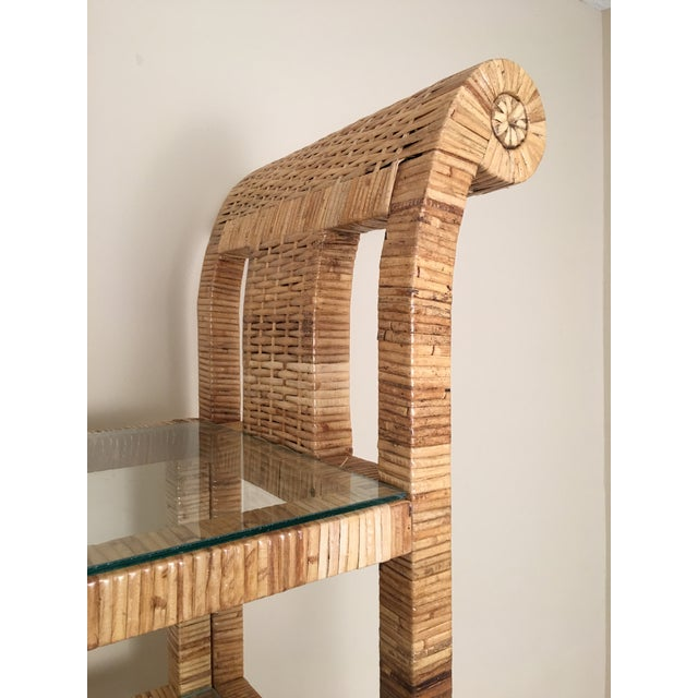 Billy Baldwin Style Lacquered Wrapped Rattan Etagere - Image 9 of 10