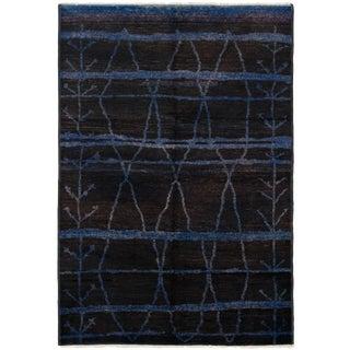 Vintage Moroccan Black Rug-6'1'x8'1' For Sale