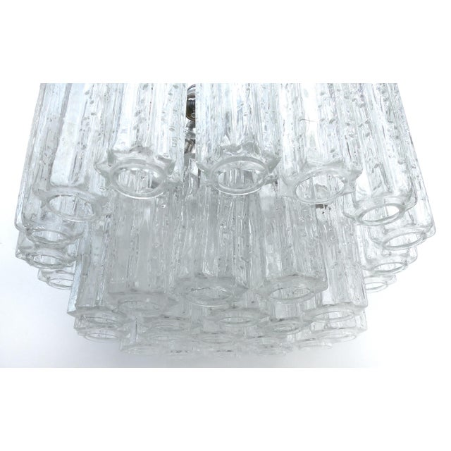 Metal Italian Mid-Century Modern Venini Blown Glass Two Tiered Chandelier For Sale - Image 7 of 12