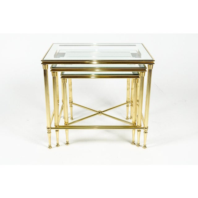 Contemporary Brass & Glass Nesting Tables - Set of 3 For Sale - Image 3 of 8