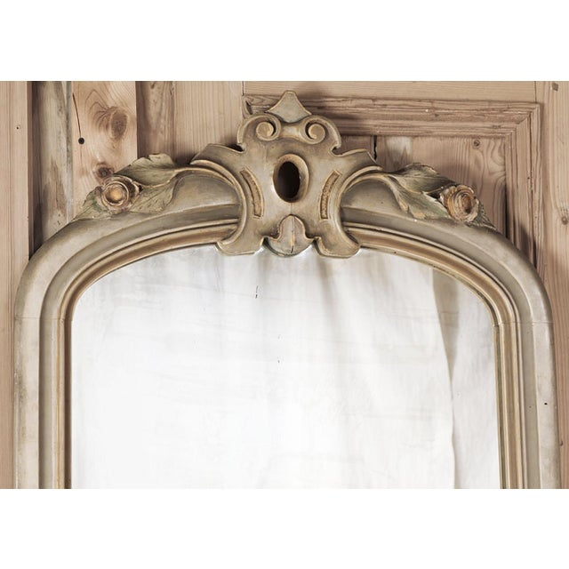 Baroque 19th Century Italian Hand Painted Console and Mirror With Cararra Marble For Sale - Image 3 of 13