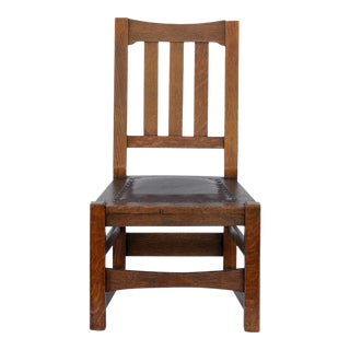 1900s Vintage Original Mission Style Arts & Crafts Oak Chair by Stickley Brothers For Sale
