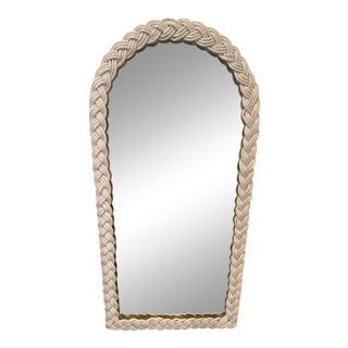 Large Vintage Costal Boho Chic White Wicker Braid Wrapped Long Mirror For Sale