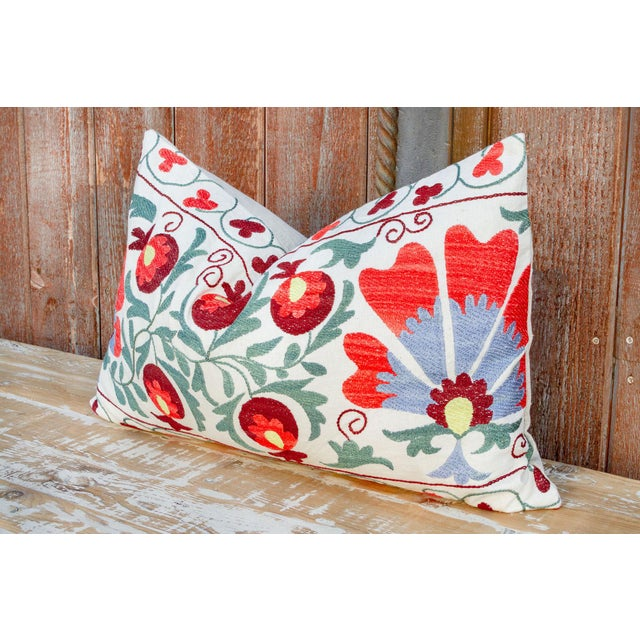 Boho Chic Iris Coral Floral Suzani Pillow For Sale - Image 3 of 9