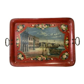 19th Century Tole Tray Featuring a Hand Painted Italian Scene For Sale