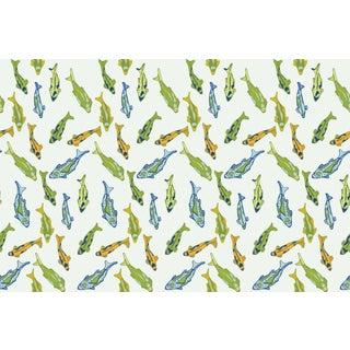 Koi Pond Peridot Linen Cotton Fabric, 3 Yards For Sale