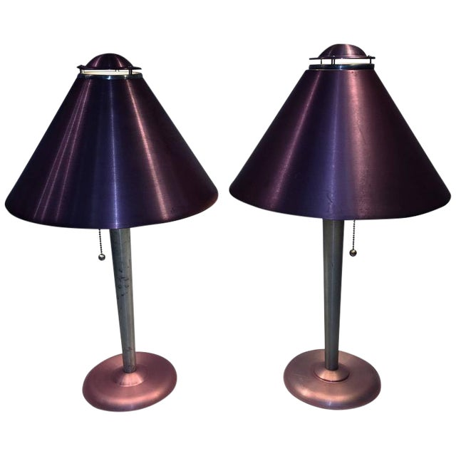 AMAZING PAIR OF ART MODERNE ANODIZED SPUN ALUMINUM LAMPS For Sale
