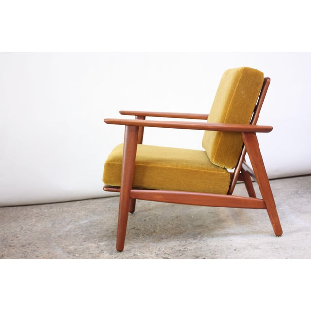 Danish Modern Reclining Lounge Chair in Ochre Mohair For Sale - Image 4 of 13