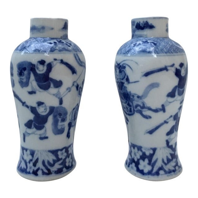 Antique Blue & White Samurai Vases - A Pair - Image 1 of 6