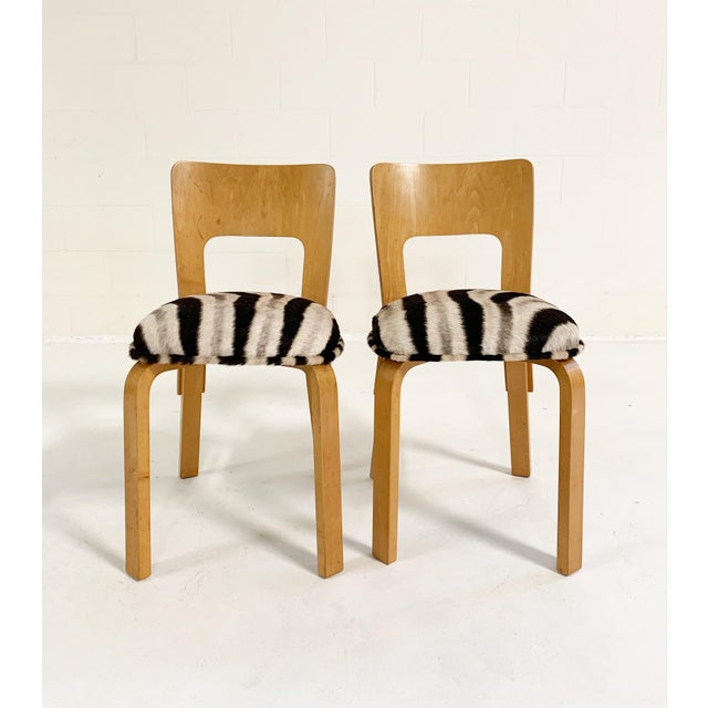 Early 20th Century Alvar Aalto Model 66 Chairs in Zebra Hide, Pair For Sale - Image 5 of 9