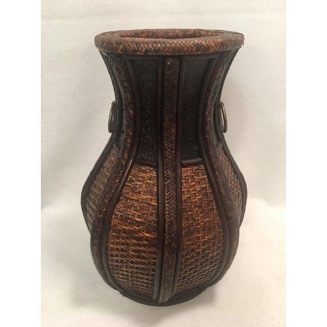 Brown Beautiful Deep Brown Rattan Basket Floor Vase For Sale - Image 8 of 8
