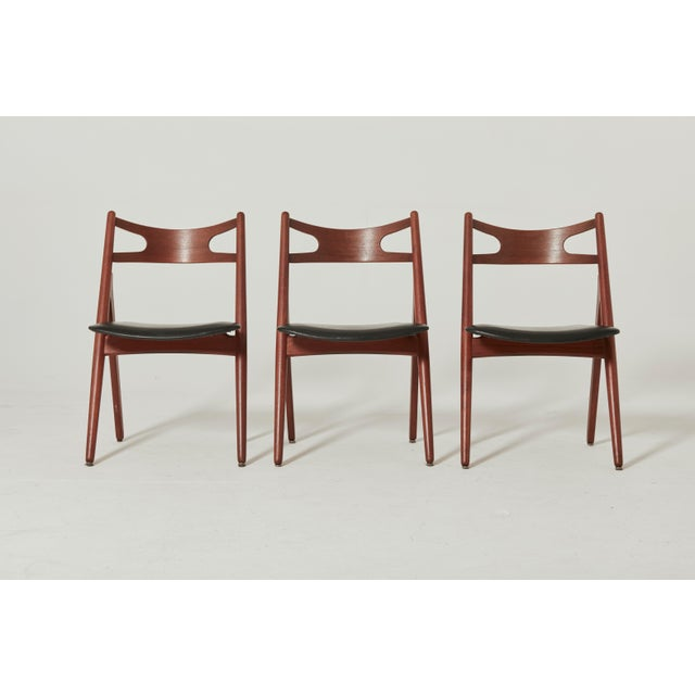 Set of Six Hans Wegner Ch-29 Sawbuck Dining Chairs, Carl Hansen, Denmark For Sale - Image 11 of 13