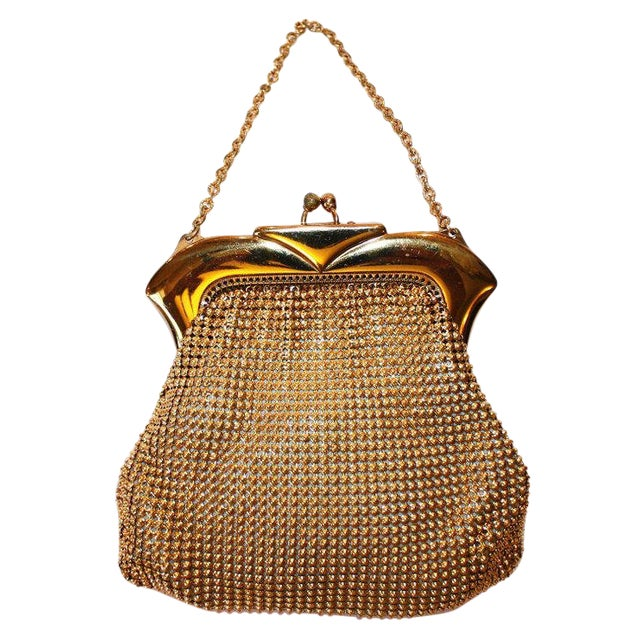 Vintage Whiting and Davis Beadalite Goldtone Mesh Purse For Sale