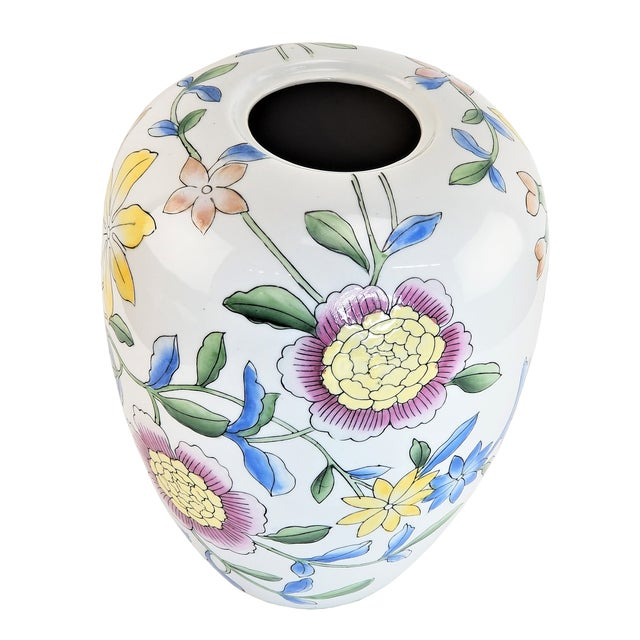 """Asian 14"""" Floral Pink Peony White Yellow Porcelain Vase For Sale - Image 4 of 7"""