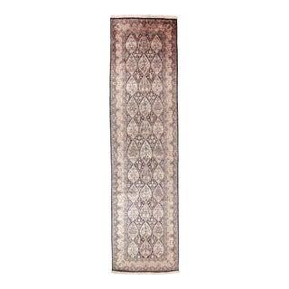 "Vintage Kashmiri Silk Runner, 3'11"" X 15' For Sale"