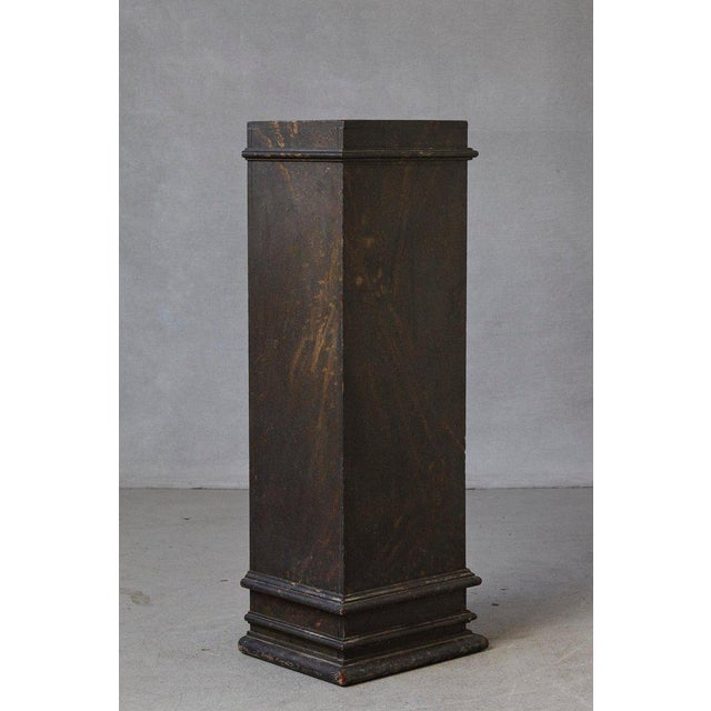 Paint 19th Century Swedish Hand-Painted Pedestal With Faux Marbleized Pattern For Sale - Image 7 of 9