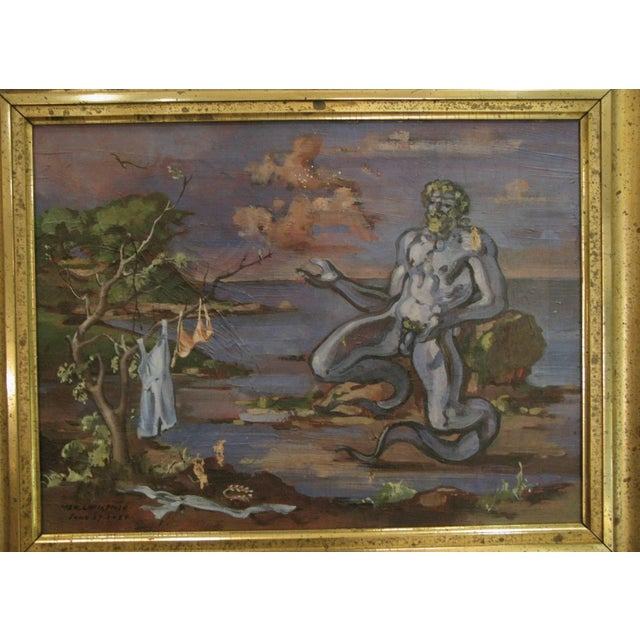 A mythological oil on canvas painting of Neptune at the shore, painted by William Littlefield and signed and dated 1934....