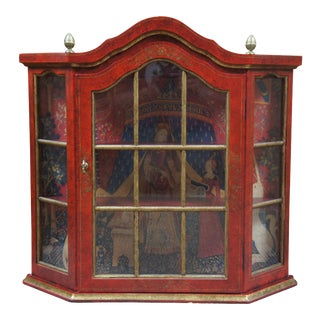 Vintage Red & Gold Distressed Wall Hanging Curio Cabinet For Sale