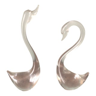 Mid-Century Glass Swans - a Pair