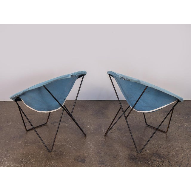 Mid-Century Modern Outdoor Blue Hoop Chairs - A Pair For Sale - Image 3 of 10