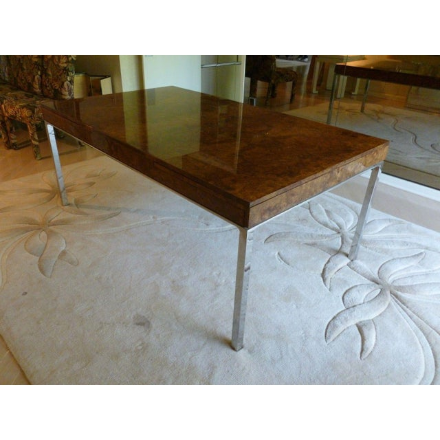 1970's Vintage Milo Baughman Style Burl-wood & Chrome Dining Table For Sale In Miami - Image 6 of 13