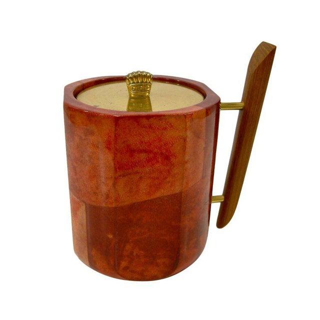 Brown 1950s Aldo Tura Goatskin Ice Bucket For Sale - Image 8 of 8