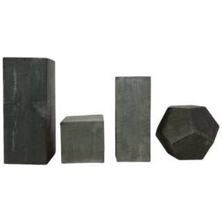 1920s Zinc Geometric Forms - Set of Four