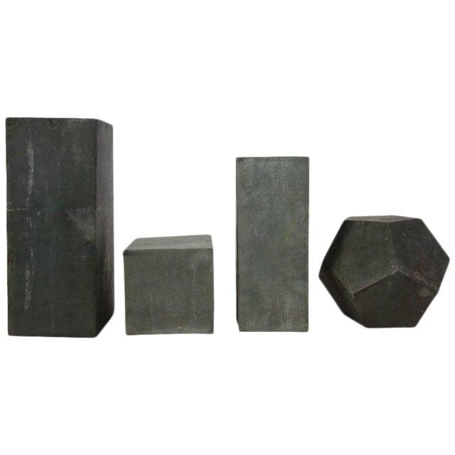 1920s Zinc Geometric Forms - Set of Four For Sale
