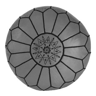 Embroidered Leather Pouf, Black on Grey For Sale
