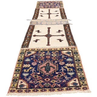 Vintage Caucasian Azerbaijan Nomadic Double Saddle Bag Tapestry Wall Hanging - 2′ × 8′6″ For Sale