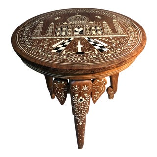 Antique India Teak Bone Inlay Taj Mahal Image Tea Table For Sale
