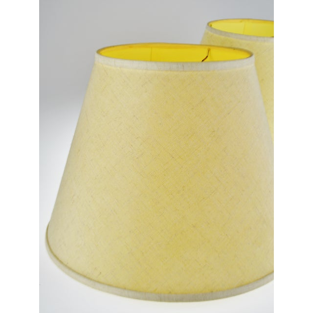 Empire Vintage New Brunswick Linen Empire Shape Lamp Shades - a Pair For Sale - Image 3 of 11