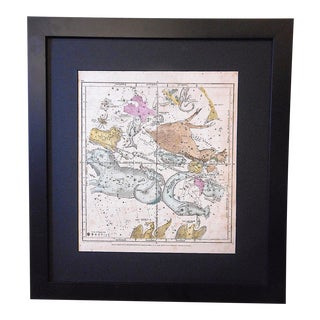 Astronomy-Antique Celestial Map/Chart-Constellations & the Zodiac-Framed For Sale