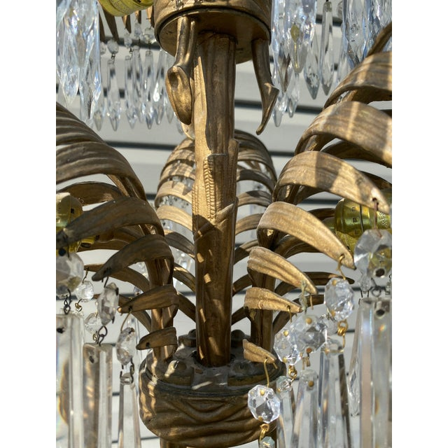 Early 20th Century French Bronze and Crystal Palm Chandelier For Sale - Image 4 of 8