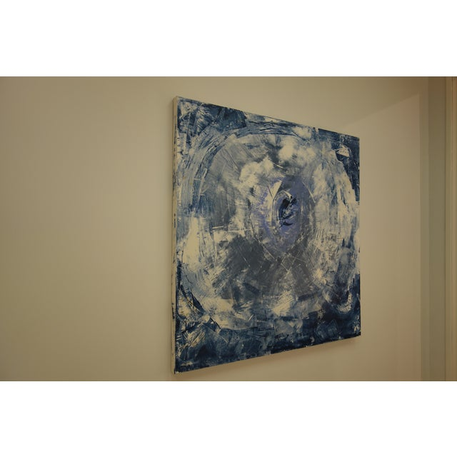 """A beautiful blue and white abstract acrylic painting on canvas titled """"The Eye,"""" by Houston artist Shannon Weir."""