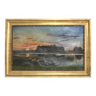 Antique Swedish Sunrise Landscape Painting