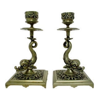 Brass Koi Candlesticks, a Pair For Sale