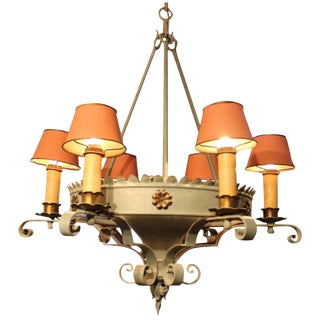 1920s Iron 6-Light Chandelier With Tole Shades