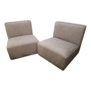 Sunpan Modern Clob Cotyledon Swivel Convertible Slipper Chair - a Pair For Sale