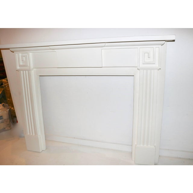 Wood Restored 19th C. Greek Revival White Primed Fireplace Mantel Mantle For Sale - Image 7 of 11