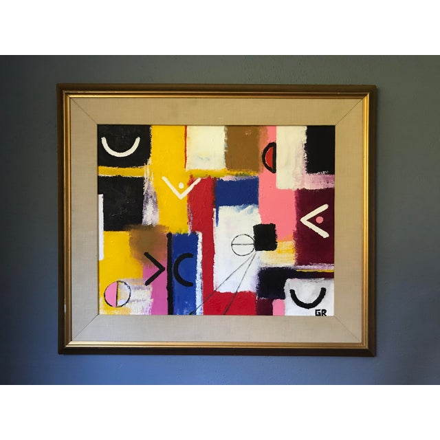Early 21st Century Original Abstract Signed Colorful Painting on Canvas in Vintage Frame For Sale - Image 5 of 7