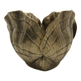 Vintage Hollywood Regency Brass Clam Shell Planter For Sale