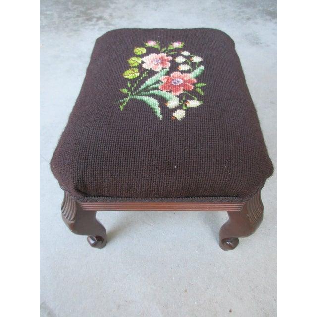 Vintage Mahogany Needlepoint Footstool For Sale - Image 12 of 13