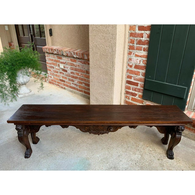1900s Antique Italian Carved Walnut Renaissance Revival Bench Ottoman For Sale - Image 4 of 13