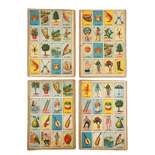 Vintage Mexican Loteria Bingo Cards - Set of 4 For Sale