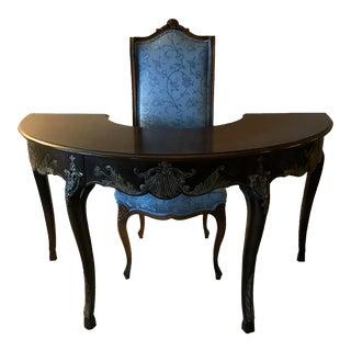 Vintage Demilune Half Circle Writing Desk & Chair - A Pair