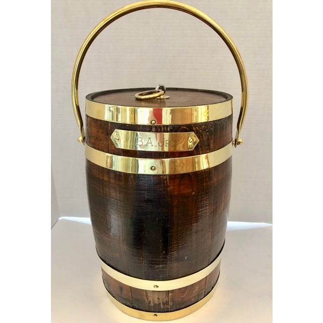 Antique Brass Banded & Wood Lidded Ice Cooler With Initials For Sale - Image 12 of 12