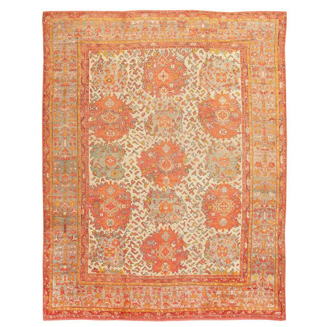 Early 20th Century Antique Turkish Oushak Carpet - 12′ × 16′ For Sale - Image 5 of 5