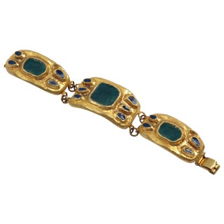 French Designer Willy Modernist Gilt Bronze and Enamel Link Bracelet For Sale